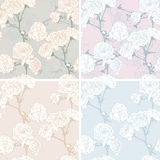 Floral seamless pastel patterns set Royalty Free Stock Photo