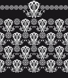 Floral seamless patten black and white Stock Photo