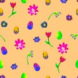 Floral seamless pattern. Hand painted daisies and tulips plum. Floral seamless pattern. Hand painted daisies and tulips plum. Bright watercolor  Royalty Free Stock Photos
