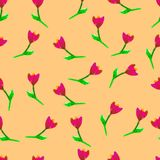 Floral seamless pattern. Hand painted tulips plum. Floral seamless pattern. Hand painted tulips plum. Bright watercolor illustration. Red flowers on  Stock Image