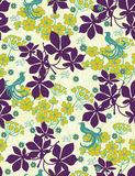 Floral seamless pattern. With styled birds Stock Image