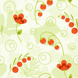 Floral seamless pattern. Seamless pattern with leaves, flowers and berries Royalty Free Stock Photos