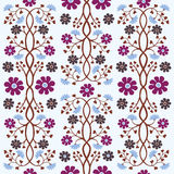Floral seamless pattern. In brown, blue and purple Royalty Free Stock Photos