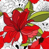 Floral seamless pattern. With red flowers Stock Photos