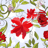 Floral seamless pattern. With red flowers Stock Images