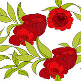 Floral seamless pattern. With red flowers Stock Photo