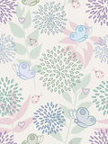 Floral seamless pattern. Floral seamless pattern with butterflies, ladybirds and hearts Stock Images