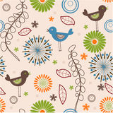 Floral seamless pattern. Abstract birds and flowers seamless pattern royalty free illustration