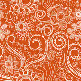 Floral seamless pattern. Abstract hand drawn flowers, seamless background linework Stock Images