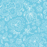 Floral seamless pattern. Graceful hand drawn floral vector seamless pattern in white and light blue Stock Photos