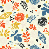 Floral seamless pattern. With flowers,leaves and butterfly Royalty Free Stock Photography