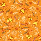 Floral seamless pattern. Cute floral seamless pattern in orange colors Royalty Free Stock Image