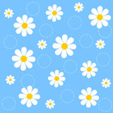 Floral seamless pattern. Cute Floral seamless pattern with white daisies on beautiful light blue background. [Spring flowers background