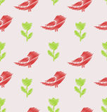 Floral Seamless Pattern with Abstract Birds and Flowers Royalty Free Stock Image