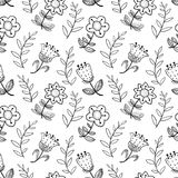 Floral seamless pattern with abstract doodle flowers.. Backgroun Royalty Free Stock Photo