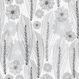 Floral seamless pattern with abstract ears of grain and flowers. Stock Image