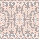 Floral seamless pattern. Black leaves, flowers, tulips, irises, plants on white, light grey royalty free illustration
