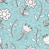 Floral seamless pattern with abstract  flowers.Doodle background Stock Images