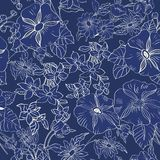 Floral seamless pattern with abstract leaves, flowers, petunias and daisies