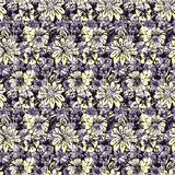 Floral seamless pattern with abstract leaves, flowers, petunias and daisies in white, lilac, yellow and black. royalty free illustration