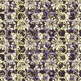 Floral seamless pattern with abstract leaves, flowers, petunias and daisies in white, yellow, lilac, purple and black