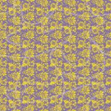 Floral seamless pattern with abstract leaves, flowers, petunias, daisies in yellow, lilac and white. stock illustration