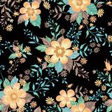 Floral seamless pattern. Abstract ornamental flowers background. Floral seamless pattern. Flower background. Abstract ornamental flourish wallpaper with flowers Royalty Free Stock Images