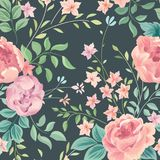 Floral seamless pattern. Abstract ornamental flowers. Flourish d. Floral seamless pattern. Flower rose and leaves on pastel background. Garden flourish wallpaper Royalty Free Stock Photos