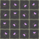 Floral seamless pattern with abstract waves and lilac bell flowers on black background. Vector summer design royalty free illustration