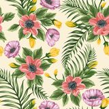 Floral seamless pattern with anemones and poppies vector illustration