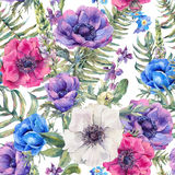Floral seamless pattern with anemones Royalty Free Stock Photo