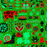 Floral seamless pattern with animals and insects. Stock Images