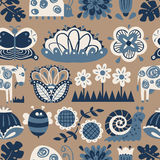 Floral seamless pattern with animals and insects. Royalty Free Stock Image