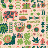 Floral seamless pattern with animals and insects. Royalty Free Stock Photography