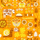 Floral seamless pattern with animals and insects. Stock Photos