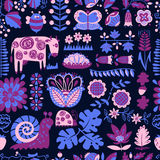 Floral seamless pattern with animals and insects. Royalty Free Stock Photos