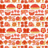 Floral seamless pattern with animals and insects Royalty Free Stock Photos