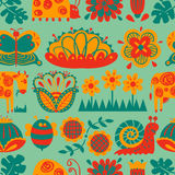 Floral seamless pattern with animals and insects. Background with abstract cartoon flat flowers and leaves, cow, snail, ladybird, butterfly. Design elements royalty free illustration