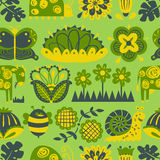 Floral seamless pattern with animals and insects. Stock Photo