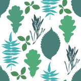 Floral seamless pattern with autumn grunge blue, green tree leaves on white background. Royalty Free Stock Photo