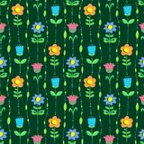 Floral seamless pattern. Background with abstract doodle flowers Royalty Free Stock Images