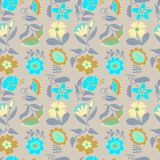 Floral seamless pattern. Background with abstract flowers and le. Aves.Vector illustration in minimalistic flat style. Design element for spring and summer Royalty Free Illustration