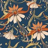 Floral seamless pattern, background In art nouveau style,. Vintage, old, retro style. Vector illustration. On denim blue background royalty free illustration