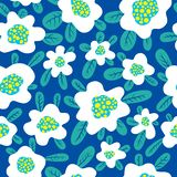 Floral seamless pattern. Background with cute abstract flowers a. Nd leaves. Vector illustration. Design for summer and spring surfaces, wallpapers and textile stock illustration