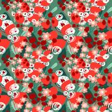 Floral seamless pattern. Background with cute abstract flowers a vector illustration