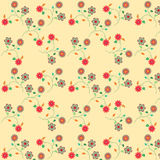Floral seamless pattern. Background of different flowers, fabric, and various items Stock Photo