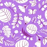 Floral seamless pattern. Background with flowers and leaves. Vec Royalty Free Stock Image