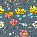Floral seamless pattern. Background with flowers and leaves. Vector illustration with natural objects stock photos