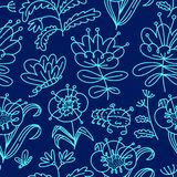 Floral seamless pattern. Background with flowers and leaves. Vector illustration with natural objects royalty free stock photography