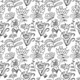 Floral seamless pattern. Background with flowers and leaves. Vector illustration with natural objects stock photography